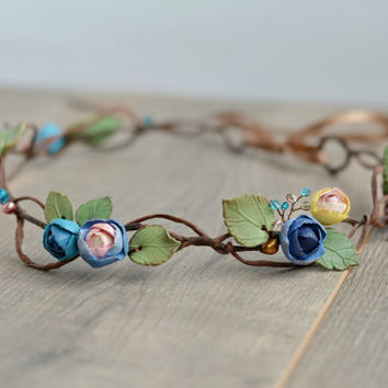 Boho floral crown Bridal flower crown Wedding rustic crown Flower wedding halo Boho hair wreath Wedding hairpiece Bridesmaid crown blue