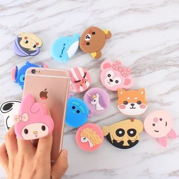 For iPhone 3D Cute Animal Stitch Ring Phone Expanding Stand Finger Holder For Samsung Xiaomi Mobile Smartphone Stand Holder