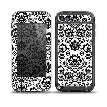 The Black Floral Delicate Pattern Skin for the iPod Touch 5th Generation frē LifeProof Case
