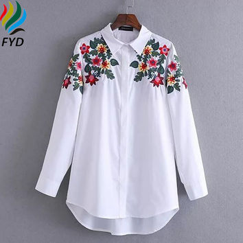 Floral Embroidered Blouse Shirt Women Slim White Tops Casual Long Sleeve Blouses Cotton Woman Office Shirts Brand Femme Blusas