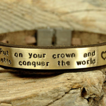 FREE SHIPPING - Men's Personalized Bracelet, Hand Stamped Bracelet, Men's Leather Bracelet, Genuine Leather and  Brass Plate Bracelet