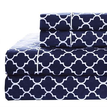King Navy/White Printed Meridian Percale Sheets