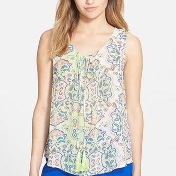 Junior Women's Blu Pepper Sleeveless Peasant Top,