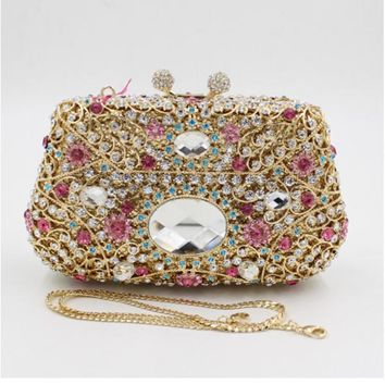 Gift Box Metal gold Minaudiere Evening bags pink Crystal Handbags Women Socialite Party Prom Bag Bridal Clutches Wedding Purse