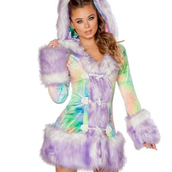 Pastel Tie-Dye Lavender Tips Faux Fur Hooded Coat