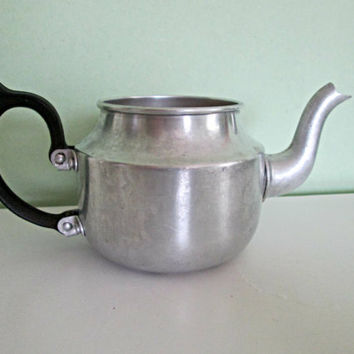 Vintage Tower Brand English Made Aluminum Teapot, Tea Kettle