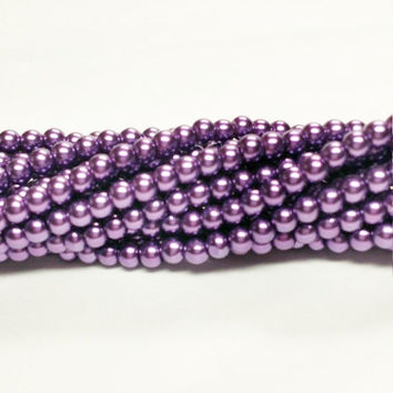 Faux Purple Pearls, Imitation Pearls, Small Glass Beads,  Purple Glass Pearls, 4mm Glass Pearls, Faux Pearls, 4mm Round Beads, PR100