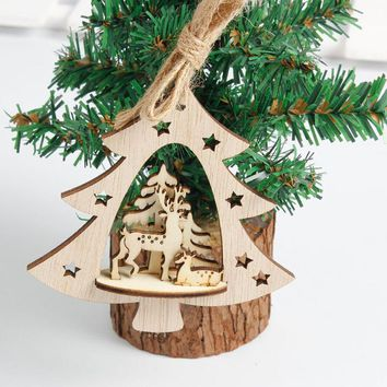 New Snowflake Wooden Embellishments Rustic Merry Christmas Tree Hanging Ornament Drop Pendant Xmas Decorations for Home