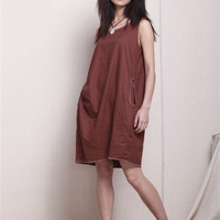 KL001D Chocolate/Womens Clothing Plus Size Petite Maternity Day Party Prom Casual Sundress Handmade Hot Summer Chic Linen Cotton Red Dress