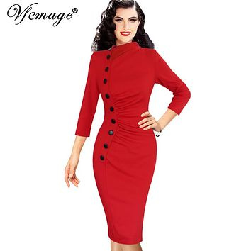 Pinup Retro Rockabilly 3/4 Sleeve Button Ruched Pleated Work  or Party  Sheath Dress