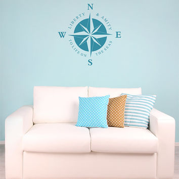 Compass Rose Removable Vinyl Wall Art, seas beach ocean nautical ships boating beach house liberty amity to life on the seas