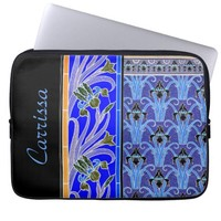 Art nouveau black and purple iris laptop sleeve