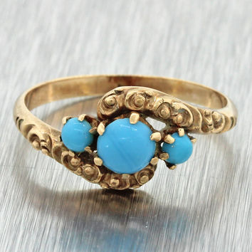 1880s Antique Victorian 14k Solid Yellow Gold Cabochon Turquoise Engraved Ring