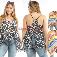 SeXy Women Plus Size Hi Low Cut Out Back Backless Sheer Tunic Top Blouse 1X- 3X