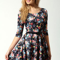 Carla Printed 3/4 Sleeve Skater Dress With Belt