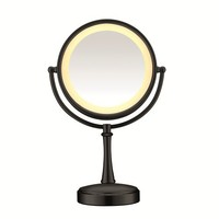 Conair Touch Control Double-Sided Lighted Mirror, Matte Black Finish