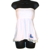 White Romantic Summer Tube Top with Blue Heart Womens Clothing Medium
