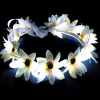 Black Friday Sale - Pulse - LED Flower Headband Flower Crown Light Up Flower Headband Rave Music Festival Gear EDC Wear - White Daisy