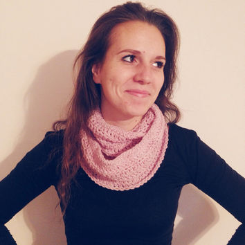 Soft Pink Crochet Double Loop Infinity Scarf