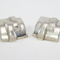 Retro Modernist Square Clip on Earrings, Sterling Silver Marked 925, Square Clipons, Vintage 1980s Era Jewelry, Geometric Minimalist Design