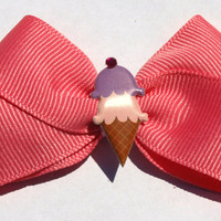 salmon pink ice cream cone bow- cute hair clip- fun hair bow