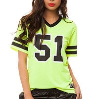 The 5150 Football Jersey in Neon Lime