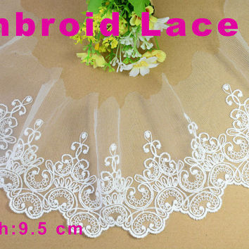 9.5cm width Cotton embroid lace sewing ribbon guipure trim or fabric warp knitting DIY Garment Accessories free shipping#3044