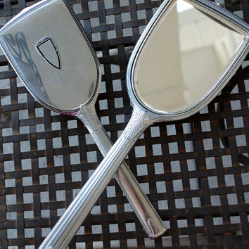 Art Deco / 1930s Evans Silver Vanity Set / Dresser Set / Brush and Mirror / Scroll Pattern / by Evans Case Company / Signed