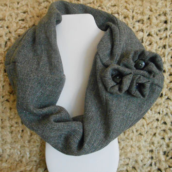 Menswear Gray Pinstriped Infinity Scarf, Cowl, Womens, Upcycled, Teens, Mens