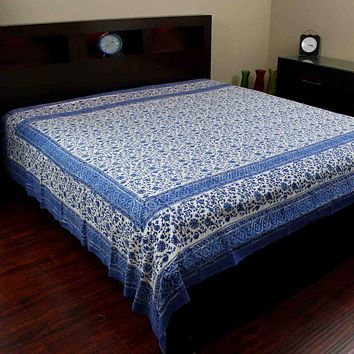 Handmade Cotton Rajasthan Block Print Tapestry Throw Tablecloth Coverlet Twin Full