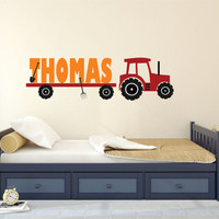 Personalized Name Tractor Wall Decal, Tractor Wall Decal, Tractor Name Decal, Nursery Name Decal, Tractor Boy Bedroom Wall Decal