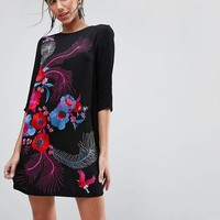 ASOS PREMIUM Bird and Floral Embroidered Shift Mini Dress at asos.com