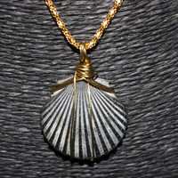Wire Wrapped Shell Pendant Necklace