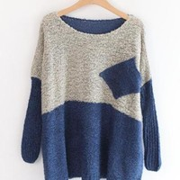 Bat Sleeve Sweater with Pocket Blue$40.00