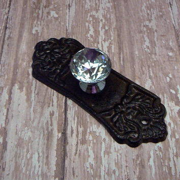 Ornate Cabinet Drawer Pull Shabby Style Chic Cast Iron Backplate acrylic Knob Natural Unpainted French Paris Do It Youself DIY
