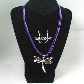 Purple Dragonfly Necklace & Earring Set