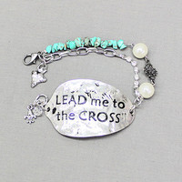 Lead Me To The Cross Hammered Oval Bracelet - BRC473LC