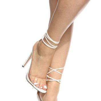 Nude Velvet Wrap Around Vinyl Single Sole Heels @ Cicihot Heel Shoes online store sales:Stiletto Heel Shoes,High Heel Pumps,Womens High Heel Shoes,Prom Shoes,Summer Shoes,Spring Shoes,Spool Heel,Womens Dress Shoes