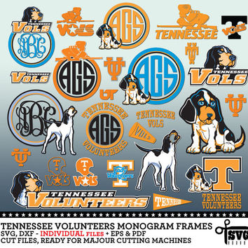 Tennessee Volunteers Monogram Frames. Individual Vector Digital Cut Files. SVG, dxf, eps, pdf for Silhouette, Cricut vinyl Die Cutting CF-26