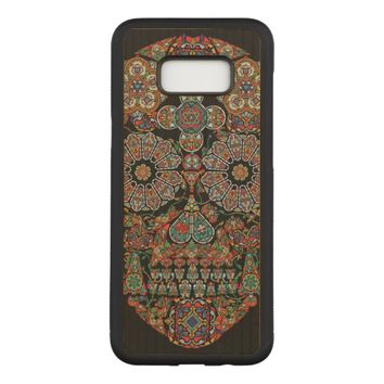 Flower Sugar Skull Carved Samsung Galaxy S8+ Case