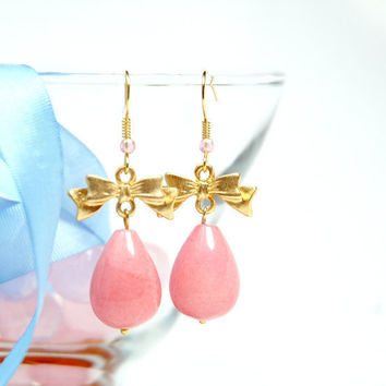 Pink Teardrop Earrings by Myvera on Etsy