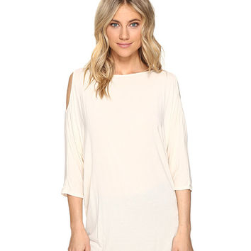 Michael Stars Lycra Jersey 3/4 Sleeve Cold Shoulder Tunic Chalk - Zappos.com Free Shipping BOTH Ways