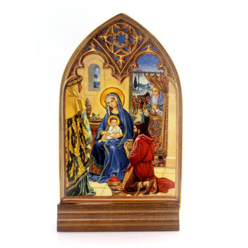 Christmas SHEPERDS FOUND HIM IN A MANGER Glass Franklin Mint Religious Ha1130