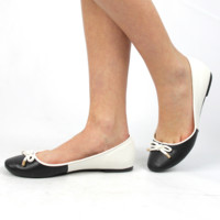 """Pam"" Color Block Ballet Flats - Black/White"