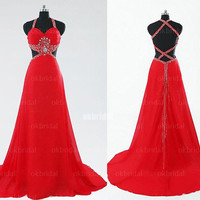 backless prom dress, long prom dress, red prom dress, cheap prom dress, chiffon prom dress, red prom dresses, RE326