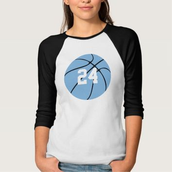 Carolina Blue Light Blue Custom Basketball T-Shirt