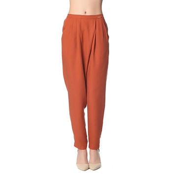 Rust peg pants with wrap front