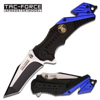 TAC Force TF-640PD Assisted Opening Folding Knife, Two-Tone Tanto Blade, Black/Blue Handle with Police Medallion, 4-1/2-Inch Closed