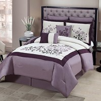 Geneva Home Fashion 8-Piece Aaron Embroidered Comforter, King, Purple
