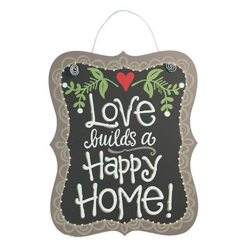 Glory Haus ''Love Builds A Happy Home'' Wall Decor (Black)
